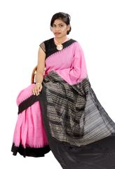 Odisha Temple Saree In Pink and Black