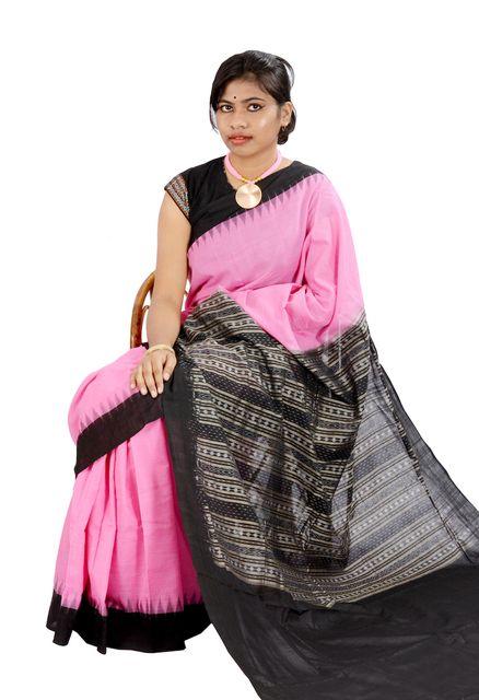 Odisha Temple Saree In Pink and Black
