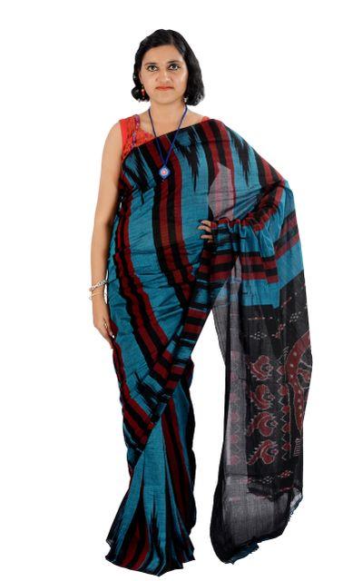Odisha's Kargil Kumbha Saree In Blue With Maroon And Black Stripes