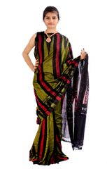 Odisha's Kargil Kumbha Saree In Green With Black And Maroon Stripes