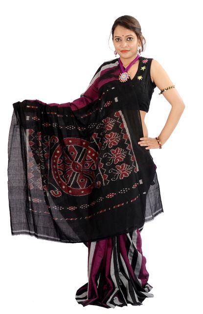 Odisha's Kargil Kumbha Saree In Purple With Grey and Black Stripes