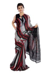 Odisha's Kargil Kumbha Saree In Grey With Maroon And Black Stripes