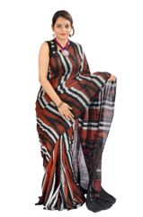 Odisha's Kargil Kumbha Saree In Rust With Maroon and Black Stripes