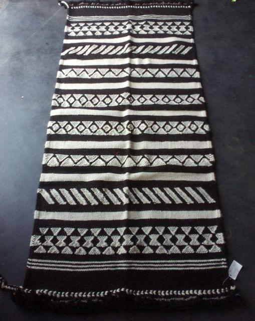 "Black and White Kharad ""Rug"" with  Geomteric Patterns"
