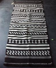 Black and White Kharad Rug with  Geomteric Patterns