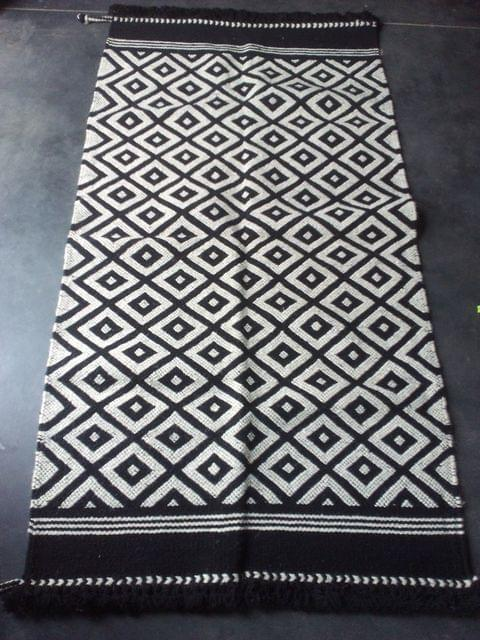 "Black and White Kharad ""Rug"" with Squares"