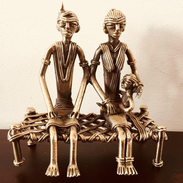 Dhokra - Tribal Couple Sitting On Charpai