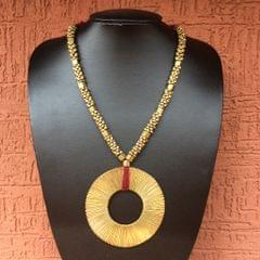 Brass Necklace With Chakra Pendant In Red Thread