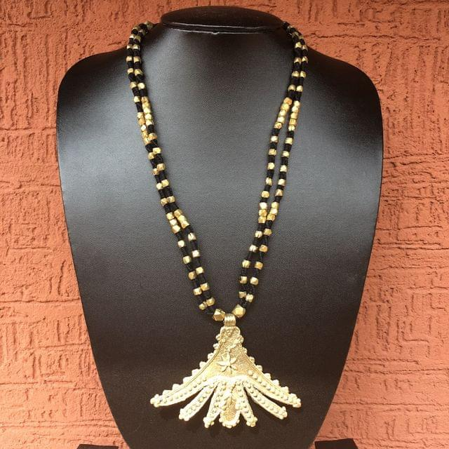 Brass Necklace With Flower Pendant In Black Thread
