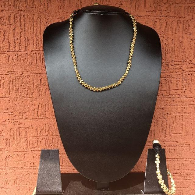 Small Brass Beads Necklace With Bracelet