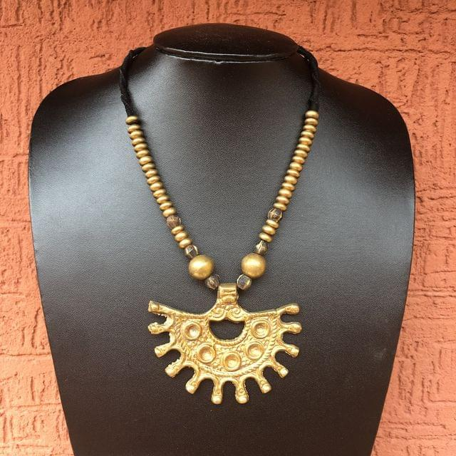 Brass Beads Necklace With Tribal Pendant In Black Thread