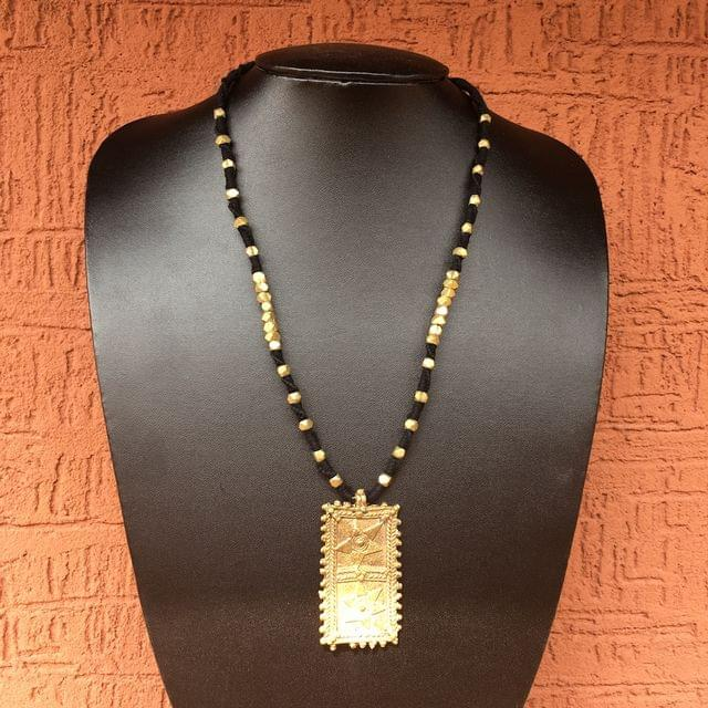 Brass Necklace With  Pendant In Black Thread