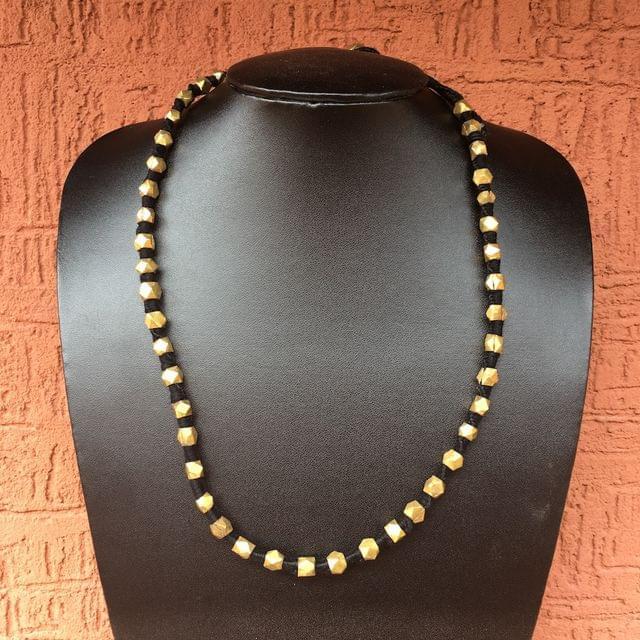 Brass Beads Necklace In Black Thread