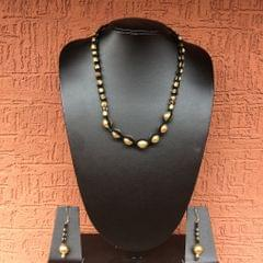 Brass Beads Necklace In Black Thread With Earrings