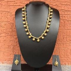 Necklace With Brass Balls In Black Thread With Earrings