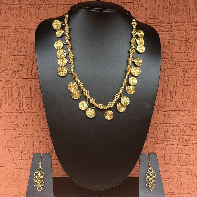 Brass Necklace With Spiral Coins And Earrings