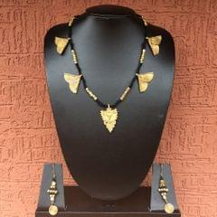 Brass Necklace With Butterfly Motifs And Earrings