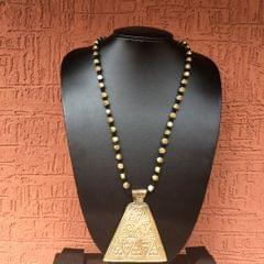 Brass Necklace With Pyramid Pendant In Black Thread