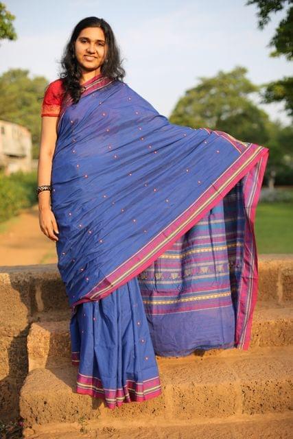 Bright Blue Dongria Saree