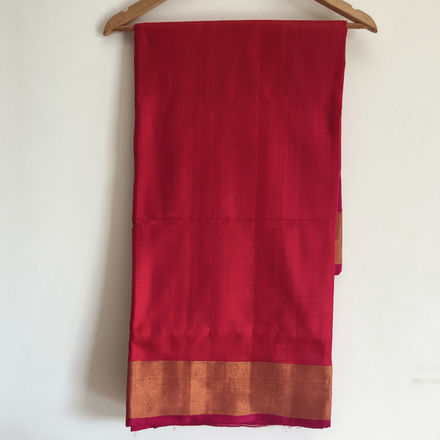 Uppada Plain Tissue - Red and Pink
