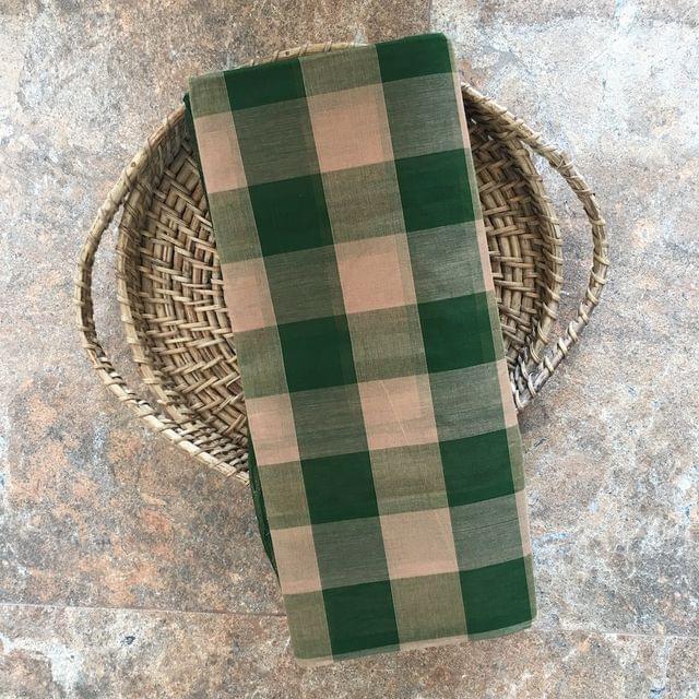 Uppada Checks Cotton - Green and Cream