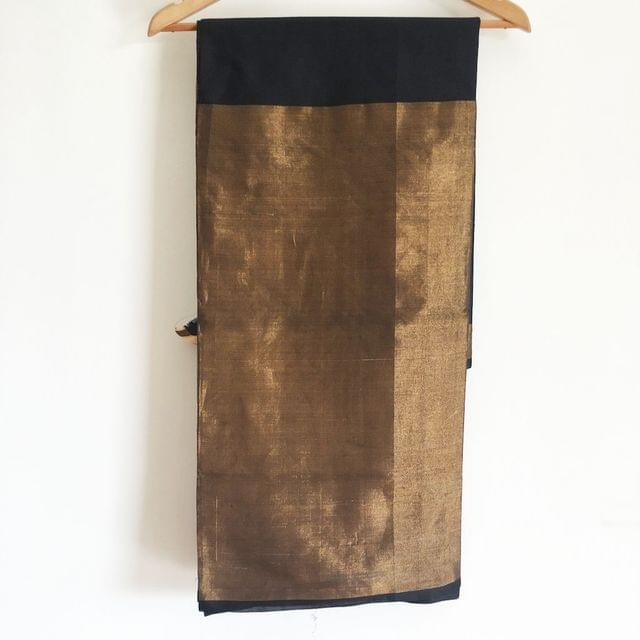Uppada Plain Silk with Tissue Border - Black and Gold