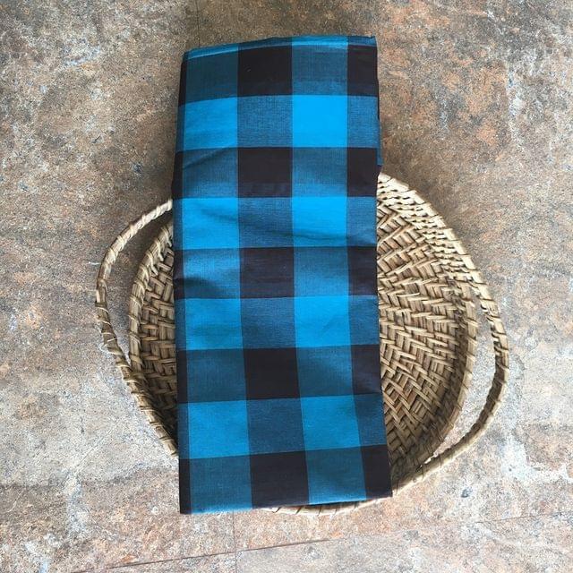 Uppada Checks Cotton - Blue and Brown