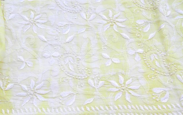 Chikankaari on Shibori Mul Kurta - Lemon Meringue