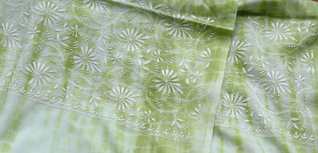 Chikankaari on Shibori Mul Kurta - Dhaani -Green