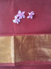 Uppada Cotton - Brick Red  With Tissue Border