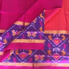 Uppada Orange Silk Saree with Pochampally Border