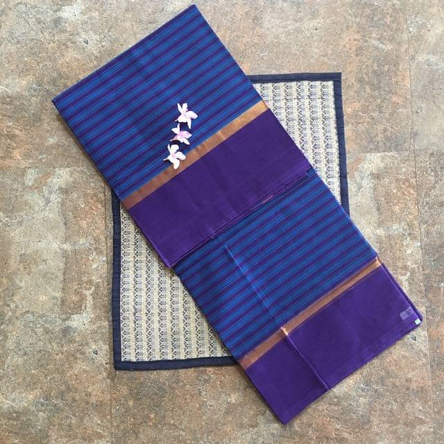 Uppada Cotton - Blue With Purple Stripes