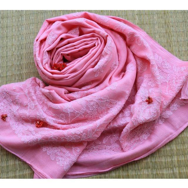 Chikankaari On Bengal Taant In Pink