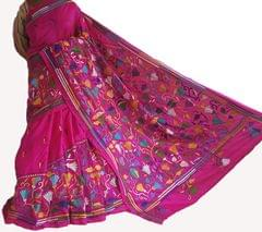 Kantha -  Floral Beauty - Pink Silk