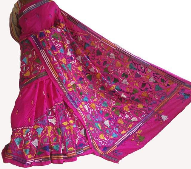 Kantha -  Floral Beauty - Pink Silk