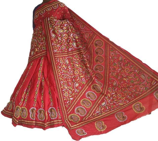 Kantha - Kairi And Tulips on Red Silk