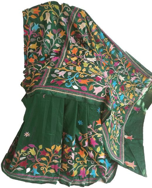 Kantha - Floral Patterns On Green Silk
