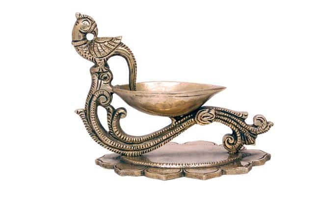 Brass Diya - Peacock