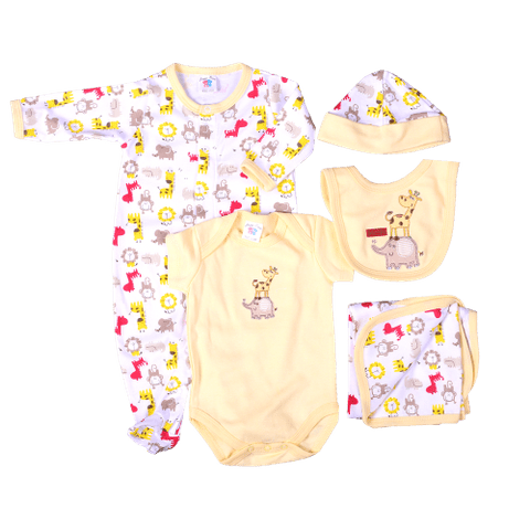 Yellow & White Giraffe & Elephant Print Gift set