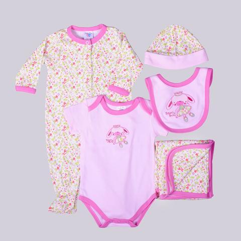 Pink Floral & Bunny Print Gift Set