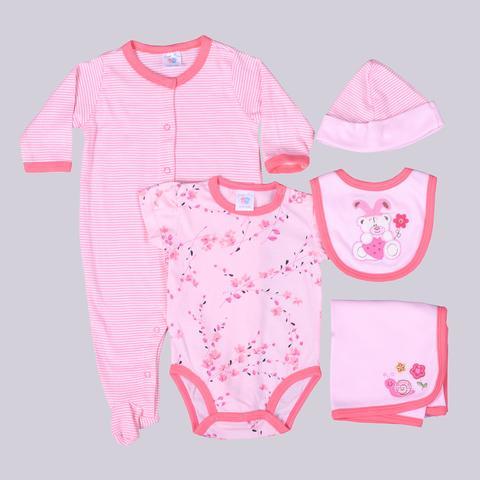 Pink Teddy & Snail Print Gift Set