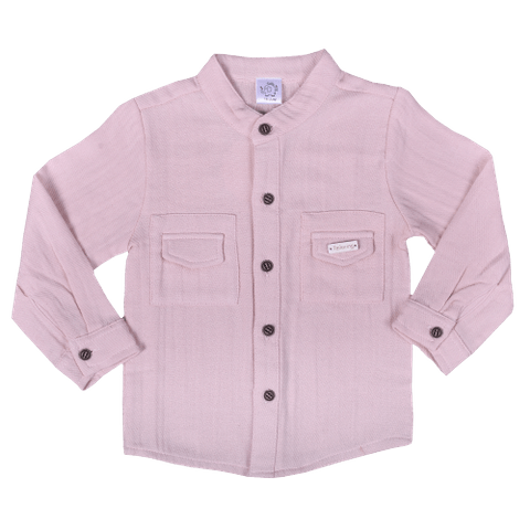 Pink Full Sleeved Shirt with two Pockets and Chinese Collar