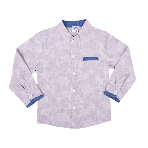 Gray Full Sleeved Patterned Shirt with Pocket & Collar