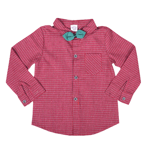 Red Full Sleeved Ghingham Printed Shirt with Green Bow Tie