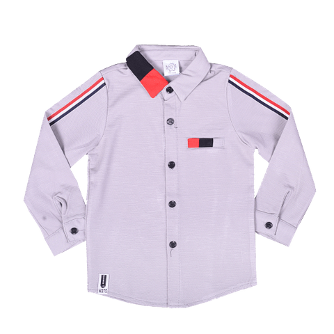 Gray Full Sleeved Shirt with Blue and Red Collar