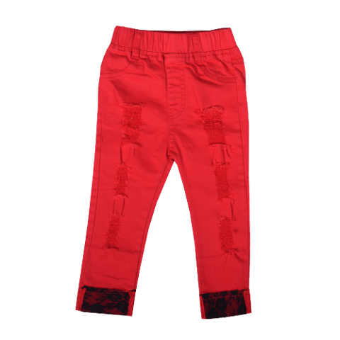Red Rugged Pants with Printed Hem