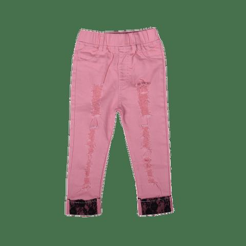 Pink Rugged Pants with Printed Hem