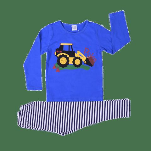 Blue Night Wear with Truck Print & Striped Pajamas