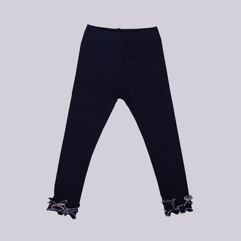 Navy Blue Legging with Frills at Bottom