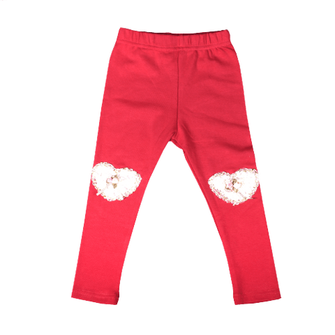 Pink Legging with Heart Lace Patch at Knees